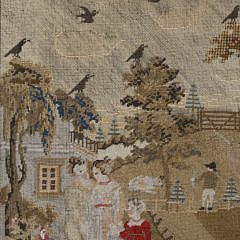 "English Needlework Embroidery, ""Farmhouse and Family Scene"", 19th c."