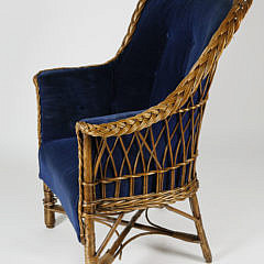 Blue Upholstered Natural Wicker Armchair