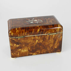 English Regency Tortoiseshell Double Compartment Tea Caddy, early 19th c.