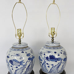Pair of Blue and White Canton Ginger Jar Lamps