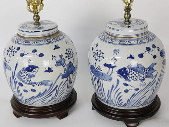 101 Pair of Blue and White Ginger Jar Lamps B_MG_7140