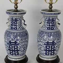 """Pair of Canton """"Double Happiness"""" Lamps"""