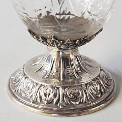 Sterling Silver and Etched Crystal Ewer