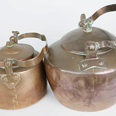 Collection of 11 Pieces of Antique French Copper Cookware