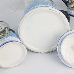 Six Piece Vintage Ceramic Nautical Decorated Drinkware Set
