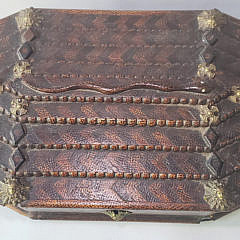 Mid 19th Century Carved and Inlaid Jewelry Box
