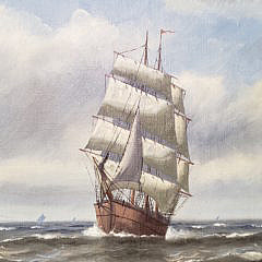 """Vintage Oil on Canvas, """"Clipper Ship on the Open Seas"""""""