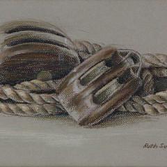 "Ruth Sumner Pastel on Paper ""Ship's Blocks"""