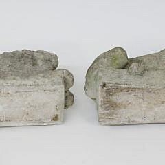 Pair of Petite Cement Lounging Lion Garden Ornaments
