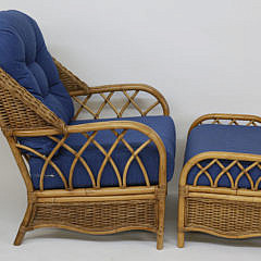 Pair of Braxton Culler Rattan Arm Chairs and Ottoman