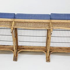 Braxton Culler Rattan Sofa and Glass Top Coffee Table