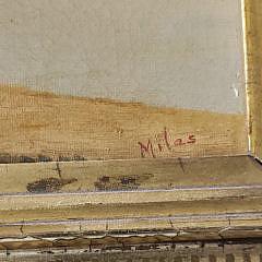 John Christopher Miles Antique Oil on Canvas River Landscape
