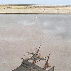 19th Century Naive Maritime Oil on Canvas Painting