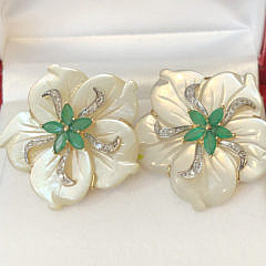 Pair of Carved Mother of Pearl, Emerald, and 14k Yellow Gold Flower Earrings
