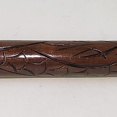 Vintage Mahogany and Brass Walking Stick/Pool Cue