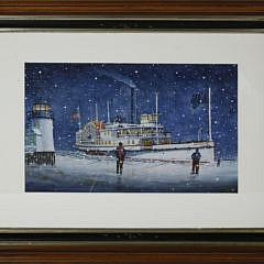 "John Hutchinson Watercolor on Paper, ""Nantucket Side Wheeler Rounding Brant Point"""
