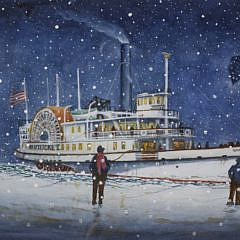 "2-4837 John Hutchinson ""Nantucket Sidewheeler Rounding an Icy and Snowy Brant Point Light"" B_MG_6722"