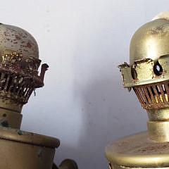 Pair of 19th Century Brass Gimbaled Kerosene Lamps