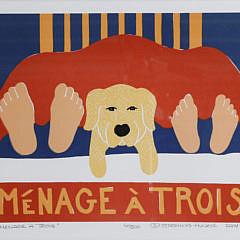 """Stephen Huneck Silk Screen, """"Ménage À Trois"""""""
