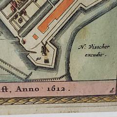Nicolas Visscher Hand Colored Engraving of Amsterdam, 1665