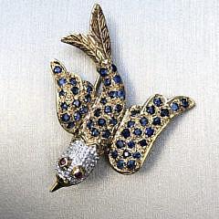 297-4800 Blue Sapphire Bird Pin A IMG_5599