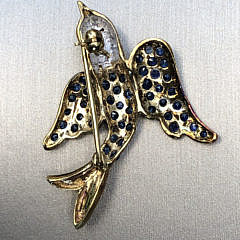 Blue Sapphire, Ruby, and 14k Yellow and White Gold Bird Pin