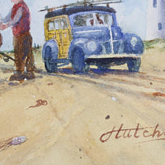 "John Hutchinson Watercolor on Paper, ""Surfcasters at Great Point"""