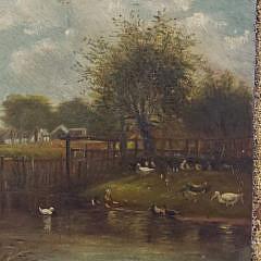 19th Century Oil on Door Panel American Farmstead