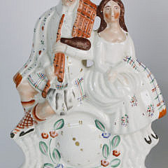 Pair of Staffordshire Figural Courting Couples Lamps, 19th Century