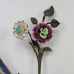Pair of Castilian Porcelain and Gilt Metal Bird Sconces