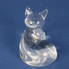 Signed Steuben Clear Crystal Figural Lounging Cat