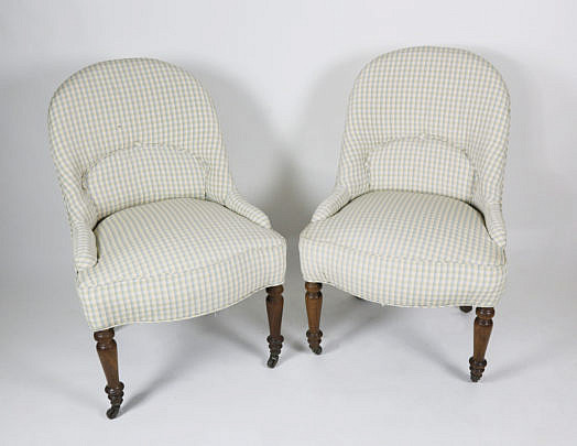 37-4890 Pair of Gingham Upholstered Slipper Chairs A_MG_4730