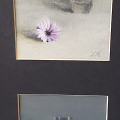 Pair of Evelyn Ann McFarlane Contemporary Oil on Board Bud Vase Still Life Paintings