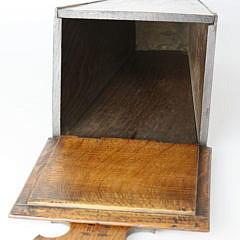 English Oak Crossbanded Hanging Candle Box, 19th c.