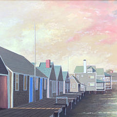 "Paul Crosthwaite Oil on Masonite ""Old North Wharf"""