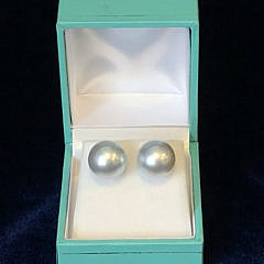 Pair of Fine 12.5mm Silver/White South Sea Pearl Earrings