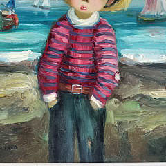 Alfio Bonanno Oil on Canvas Seaside Portrait of a Young Boy