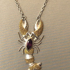 Sterling Silver & 22k Gold Vermeil Amethyst Lobster Pendant Necklace