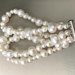 3-Strand 11mm-5mm White Fresh Water Pearl Bracelet