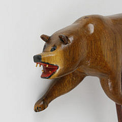 Ralph Buckwalter Folk Art Carved Bear Figural Cane