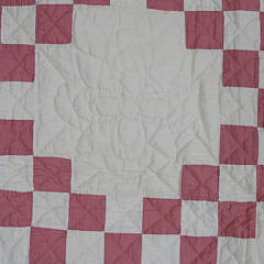 Vintage Pink and White Irish Chain Patchwork Quilt, circa 1930s