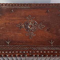 19th Century German Carved Folk Art Wood Traveling Secretary Box