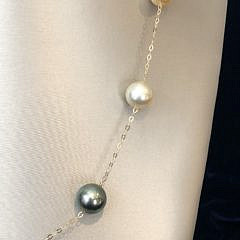 South Sea White, Gold and Tahitian Grey Pearl Tin Cup Necklace, 18k Gold