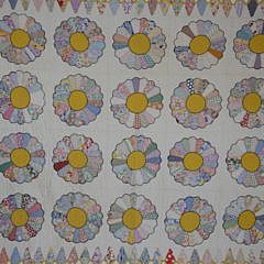 Vintage Yellow and White Dresden Plates Quilt, circa 1930s