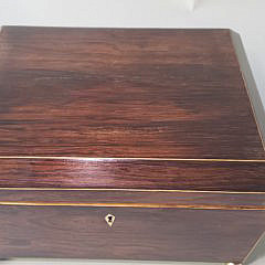 19th Century Rosewood Canted Line Inlaid Jewelry Box