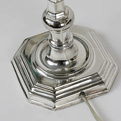 Pair of Vintage Chelsea House Silverplated Candlestick Lamps