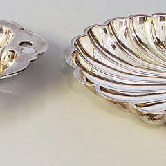 Two Silver Plated Scallop Shell Formed Dishes