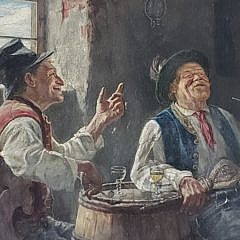 """Hugo Kaufmann Oil on Board """"Two Men Conversing Over Drink and Smoke"""""""