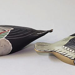 Two Vintage Hand Painted and Carved Duck Decoys Bufflehead Drake and Pintail