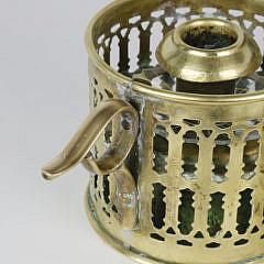 Pair English Brass and Glass Pierced Chambersticks, circa 1800